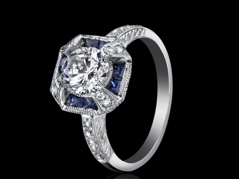 Sapphire and Diamond Semi-mount with .27 total carats of diamonds and .56 total carats of sapphires.
