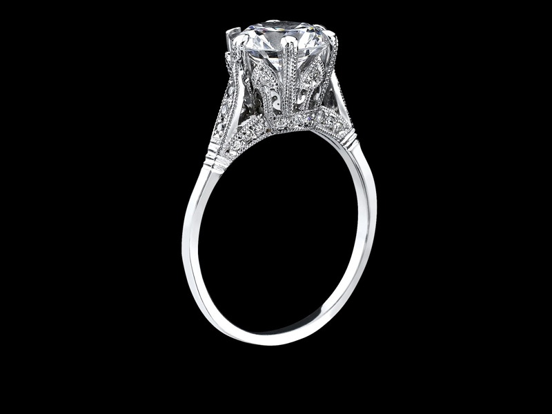 Semi-mount with .07 total weight of diamonds set in the mounting.  Available in 14k or 18k White gold, Yellow gold, or Rose gold or Platinum